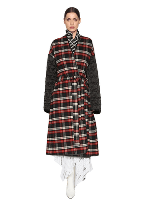 Plaid Flannel & Quilted Nylon Coat