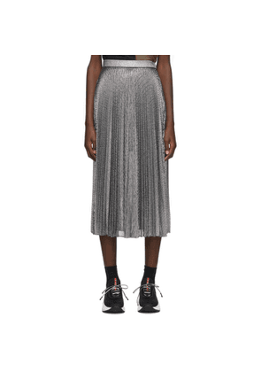 Christopher Kane Silver Lame Mesh Pleated Skirt