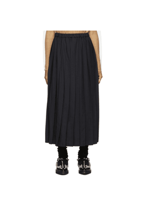 Junya Watanabe Navy Wool Pleated Skirt