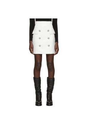 Balmain White High-Waisted Button Miniskirt