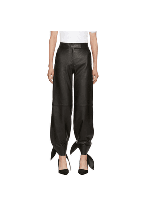 Off-White Black Leather Bow Track Pants