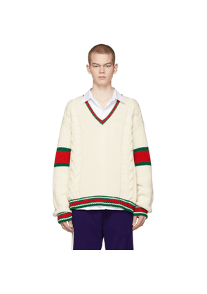 Gucci Off-White Cable Knit V-Neck Sweater