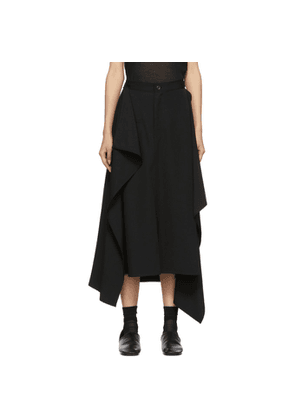 Yohji Yamamoto Black Piping Pocket Skirt