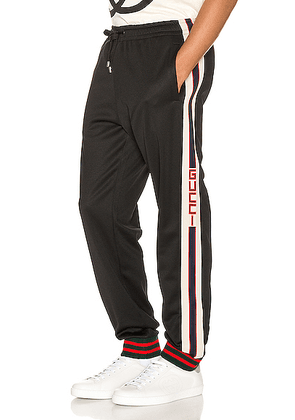 Gucci Technical Jersey Pant in Black & Ivory & Live Red - Black,Stripes. Size L (also in M,S,XL,XS).