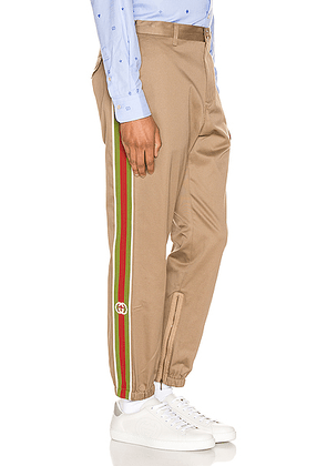 Gucci Cotton Pant With Stripes in Khaki & Multi - Neutral,Stripes. Size 46 (also in 50,52).