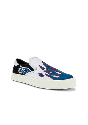 Amiri Flame Slip On in Black & White & Blue - Blue. Size 42 (also in 43,44,45).
