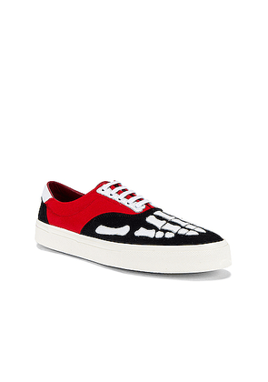 Amiri Skel Toe Lace Up Sneaker in Black & Red & White - Red. Size 41 (also in 42,43,44,45).