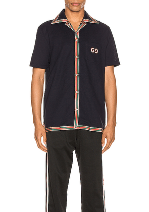 Gucci Cotton Polo With GG Embroidery in Navy & Multi - Blue,Stripes. Size L (also in S,XL,XS).