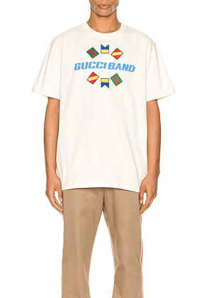 Gucci Band Oversize Print Tee in Sunkissed & MC - White,Neutral. Size L (also in M,S,XL,XS).