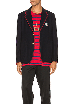 Gucci Palma Wool Cotton Jacket With Patch in Ink - Blue. Size 46 (also in 50,52).