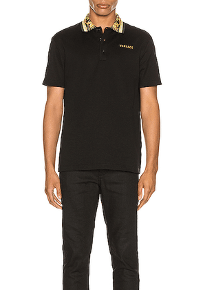 VERSACE Polo in Black & Gold - Abstract,Black. Size L (also in S,XL).