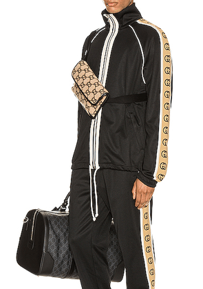 Gucci Oversize Technical Jersey Jacket in Black & Multi - Abstract,Black. Size L (also in S,XL,XS).