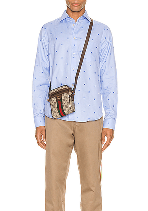 Gucci Symbols Fil Coupe Cotton Shirt in Sky Blue - Blue,Novelty. Size 16 (also in 15.5,16.5,17,17.5).