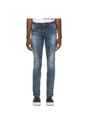 Nudie Jeans Blue Worn Repaired Tight Terry Jeans