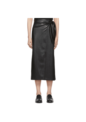 Nanushka Black Vegan Leather Amas Sarong Skirt