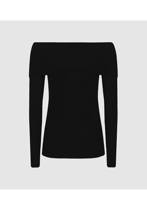 Reiss Tima - Off-the-shoulder Knitted Top in Black, Womens, Size XS