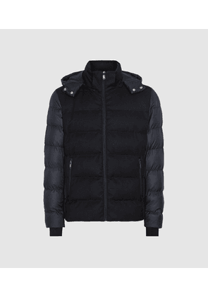 Reiss Meyrim - Padded Jacket With Removable Hood in Navy, Mens, Size XS