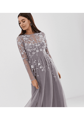 ASOS DESIGN Tall long sleeve maxi dress in embroidered mesh-Grey