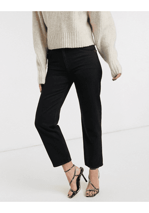 ASOS DESIGN Mid rise 'off duty' straight leg jeans in washed black