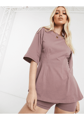 ASOS DESIGN co-ord t-shirt with corset detail-Brown