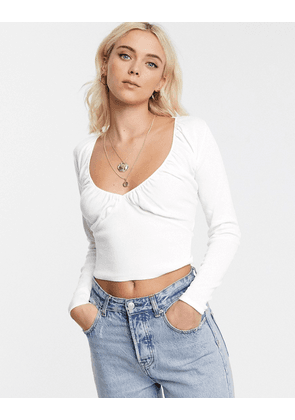 ASOS DESIGN jumper with gathered bust detail-White