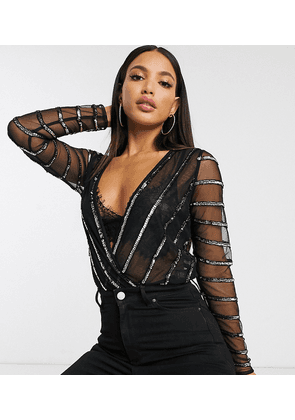 ASOS DESIGN Tall wrap body with striped embellished detail in black