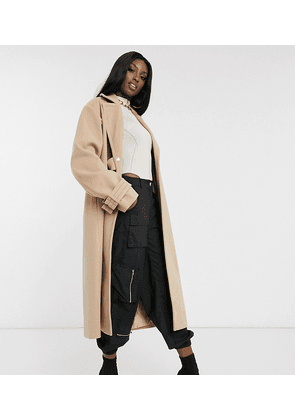 ASOS DESIGN Tall contrast stitch coat with buckle detail-Beige