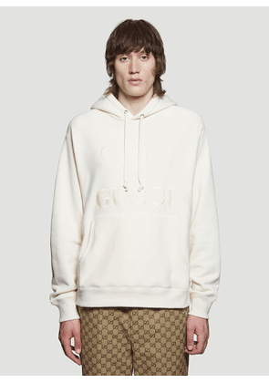 Gucci Embroidered Tennis Hooded Sweatshirt in White size M