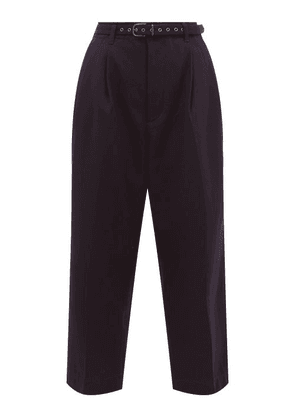 Chimala - High-rise Wool-blend Twill Cropped Trousers - Womens - Navy