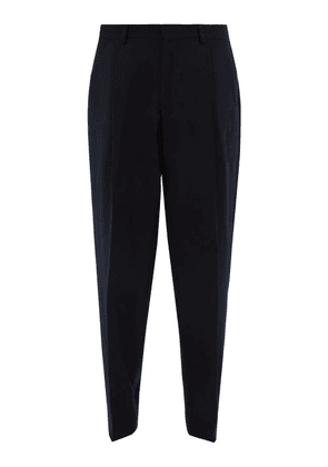 E. Tautz - Pleated Wide-leg Wool-twill Trousers - Mens - Navy