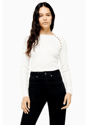 Womens Ivory Knitted Long Sleeve Top - Ivory, Ivory