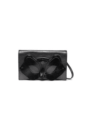 Elena Ghisellini Quilted Snake-effect And Textured-leather Clutch Woman Dark gray Size --