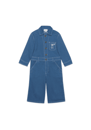 Children's cotton jumpsuit with anchor embroidery
