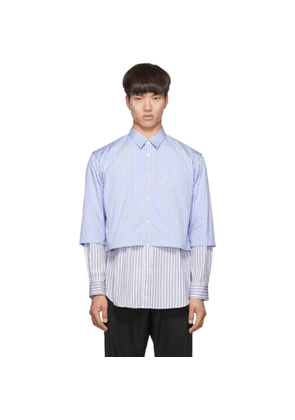 Comme des Garcons Shirt Blue and White Striped Layered Shirt