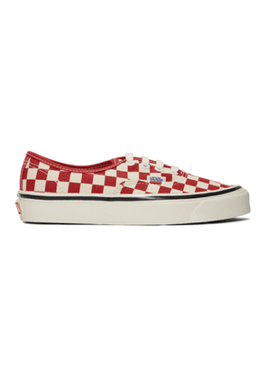 Vans White and Red Check Authentic 44 DX Sneakers