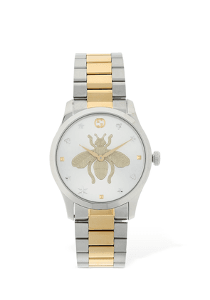 G Timeless Bicolor Embroidered Bee Watch