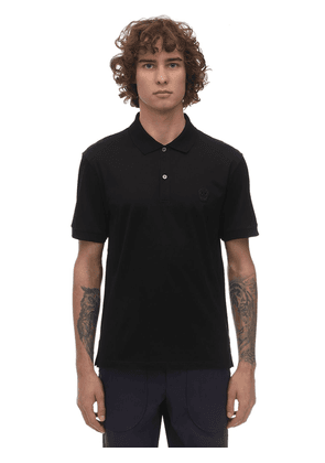 Cotton Polo W/ Skull Patch