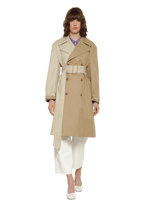 Bicolor Cotton Gabardine Trench Coat