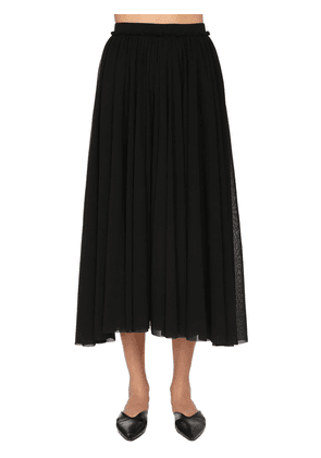 Light Stretch Tulle Midi Skirt