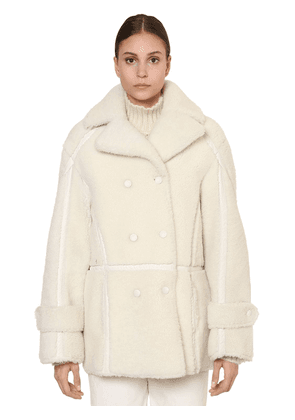 Long Double Breasted Shearling Jacket