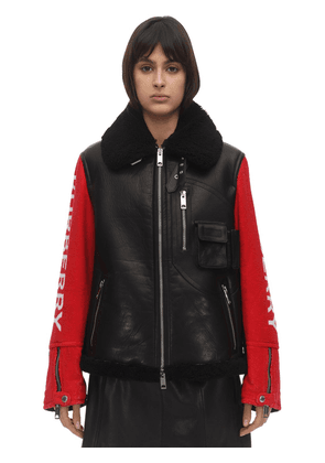Bicolor Leather Biker Jacket