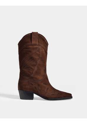 High Texas Ankle Boots in Brown Suede