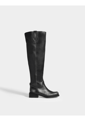 Knee High MC Boots in Black Calfskin Leather