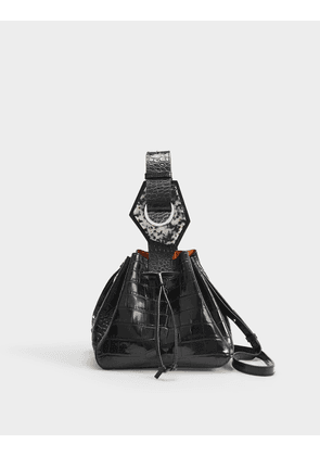 Bucket bag in Black Croc Embossed Calfskin