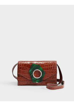 Bag in Brown Croc Embossed Calfskin