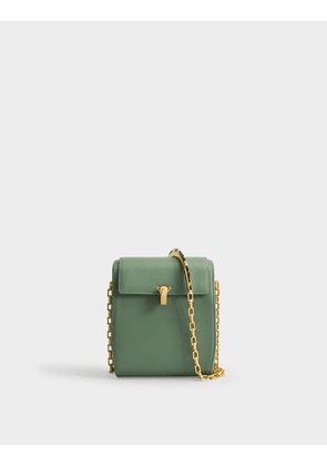 PO Box Bag in Green Calfskin
