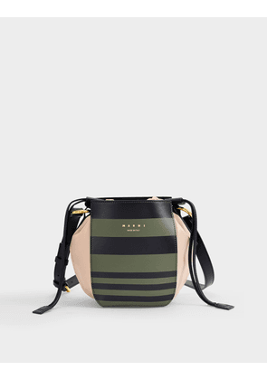 Guesset Bag in Kaki and Black Striped Leather