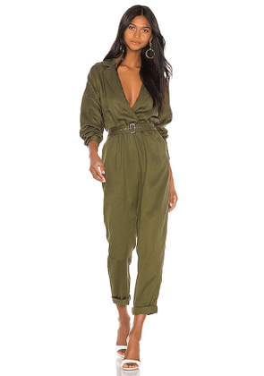 L'Academie Reed Jumpsuit in Green. Size XL.