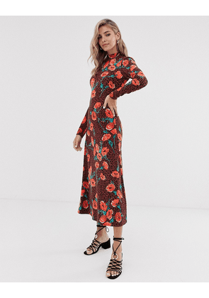 Free People retro romance floral midi dress-Brown