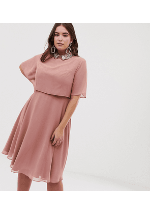 ASOS DESIGN Curve midi dress with crop top and 3D embellished collar-Pink